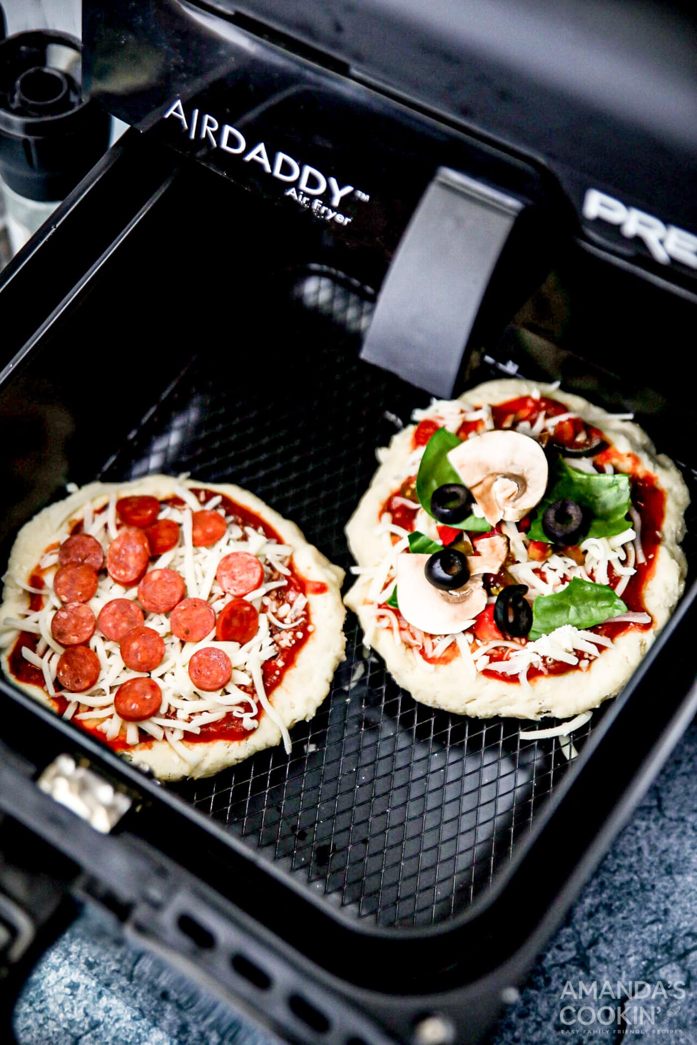 uncooked pizza in air fryer