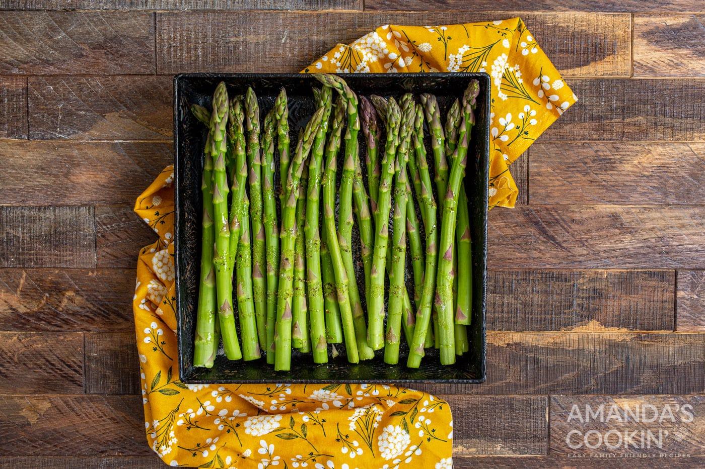 asparagus in a casserole dish