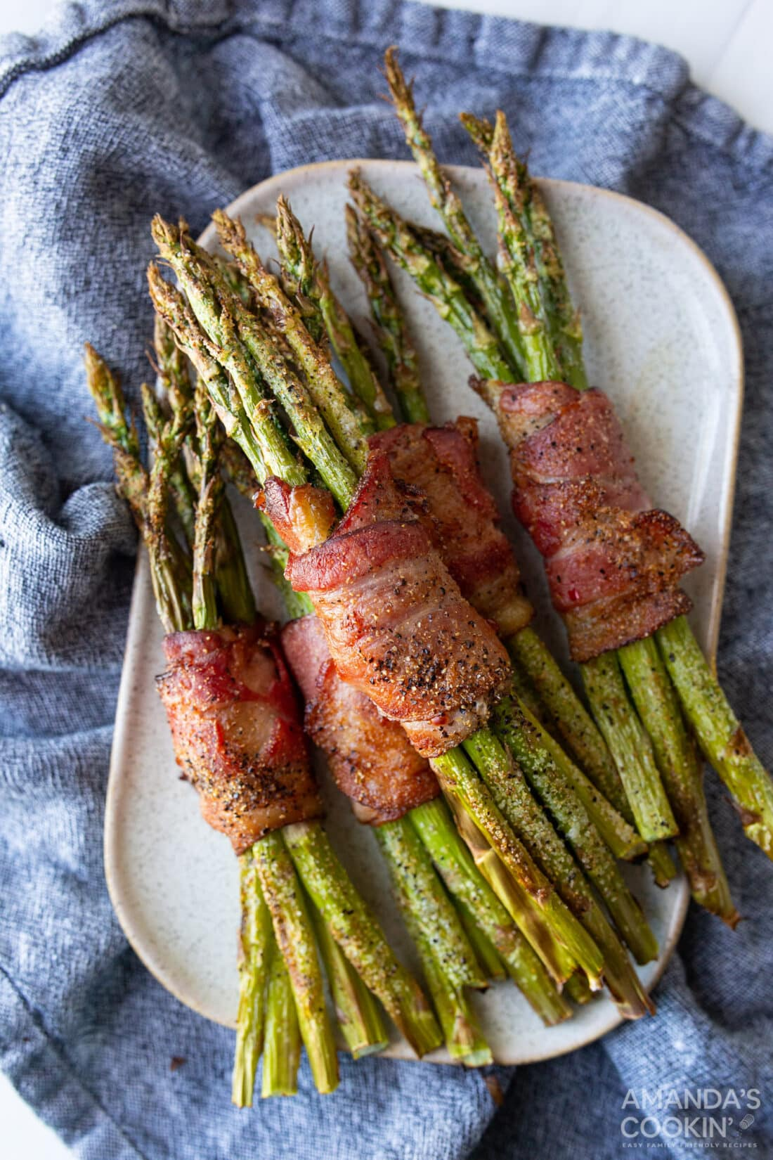 Air Fryer Bacon Wrapped Asparagus ON A PLATTER
