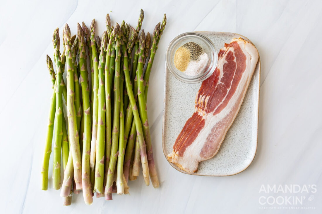 ingredients for Air Fryer Bacon Wrapped Asparagus