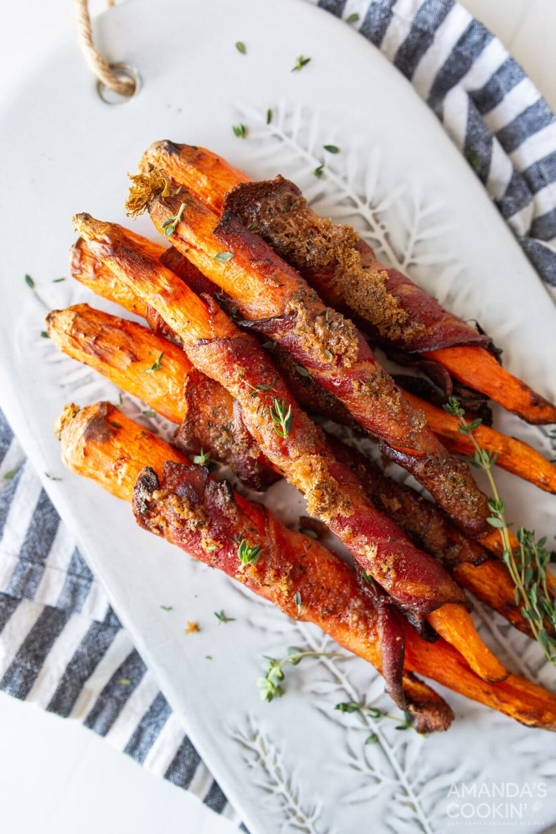 plate of candied bacon wrapped carrots