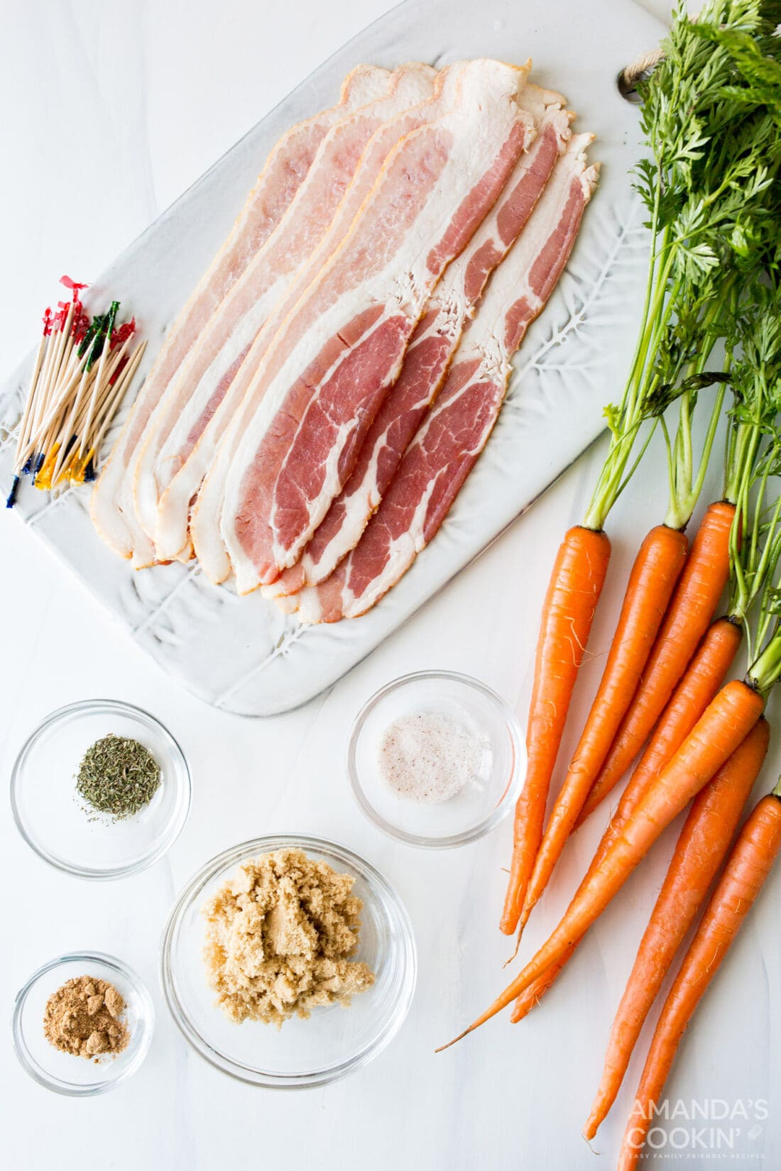 ingredients needed for air fryer bacon wrapped carrots