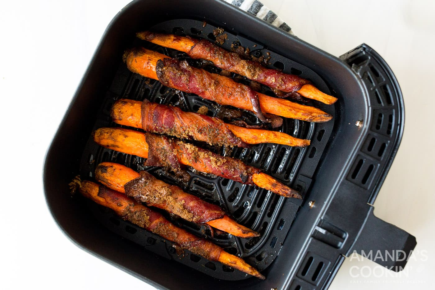 cooked bacon wrapped carrots in air fryer