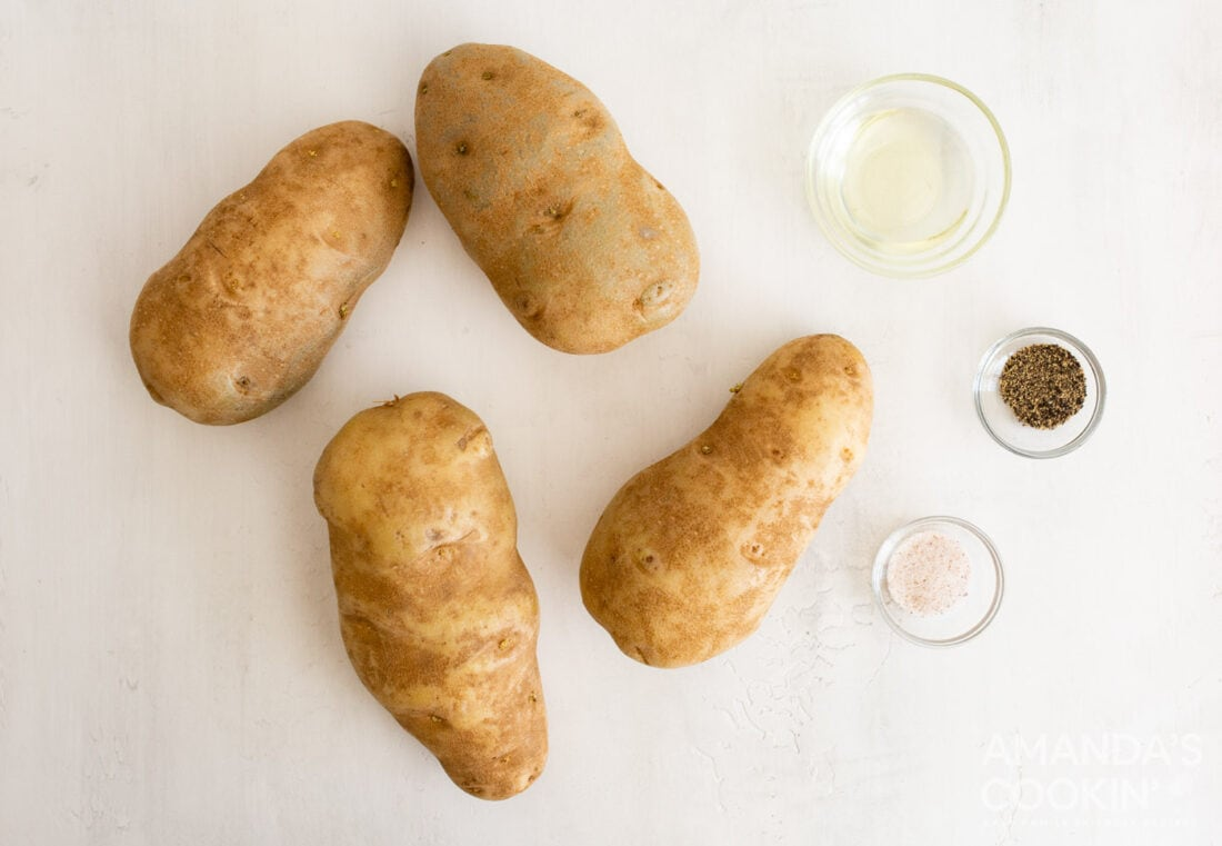 ingredients for making air fryer baked potatoes