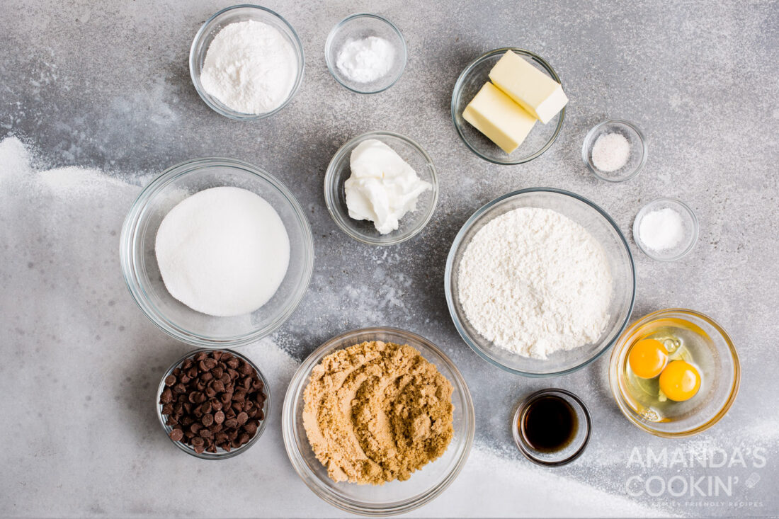 ingredients for air fryer chocolate chip cookies