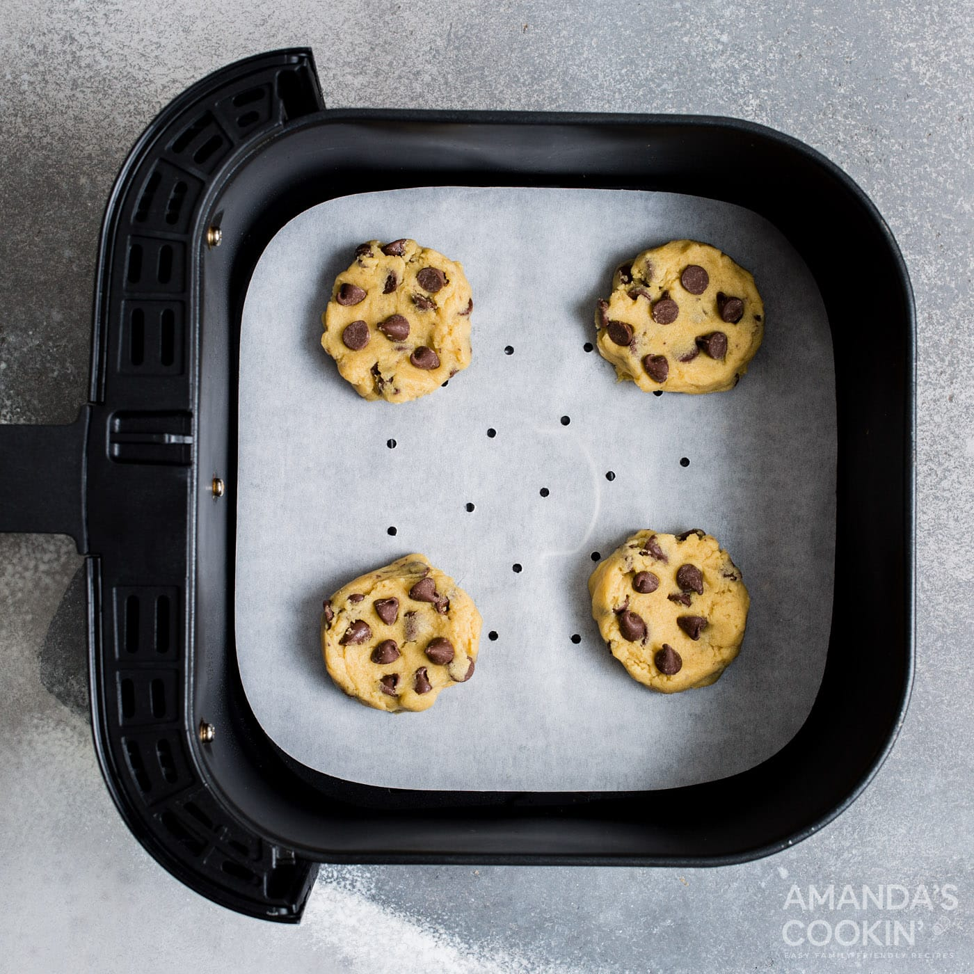 chocolate chip cookie dough in air fryer