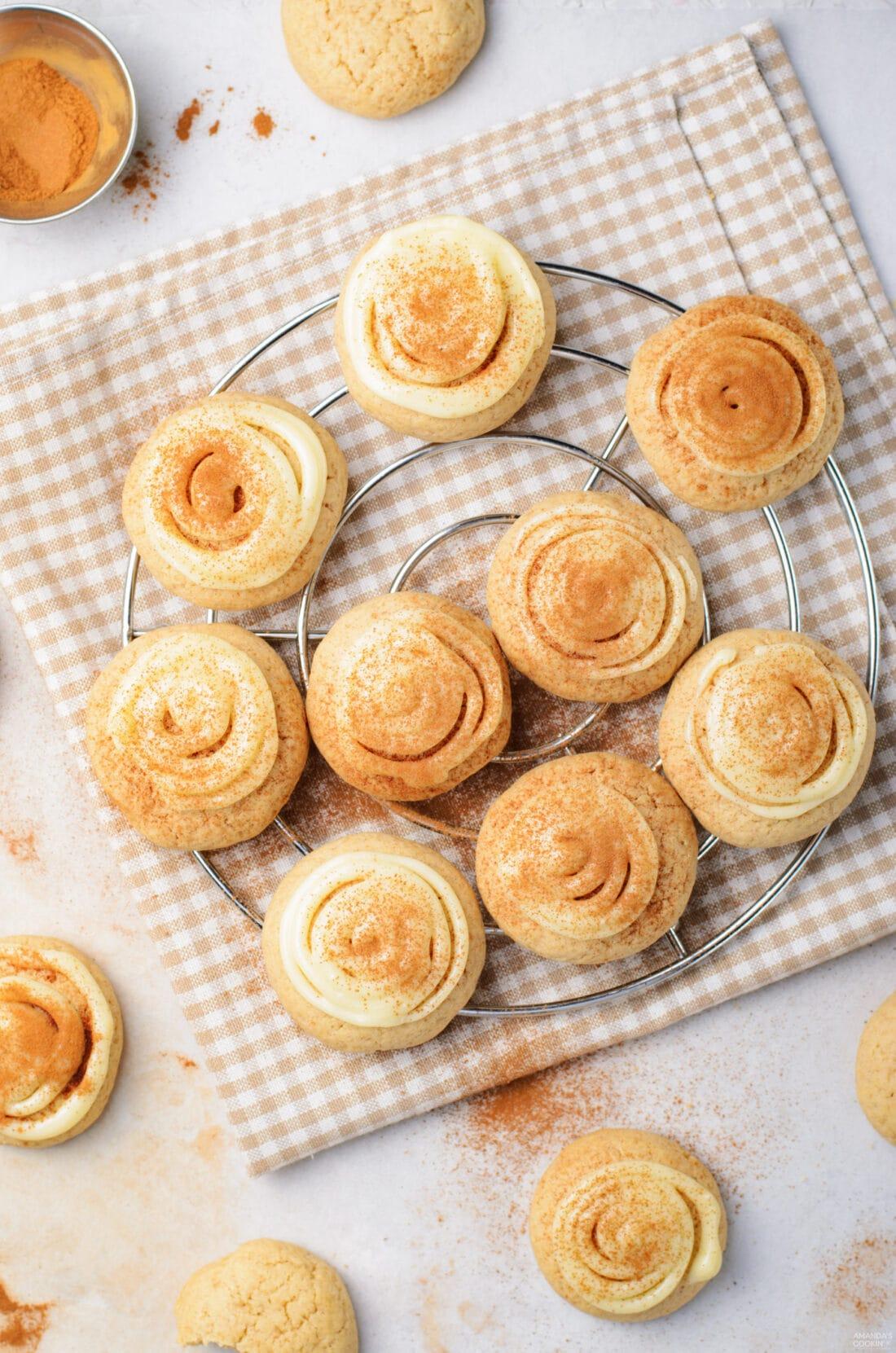 cinnamon roll cookies on a cooling rack