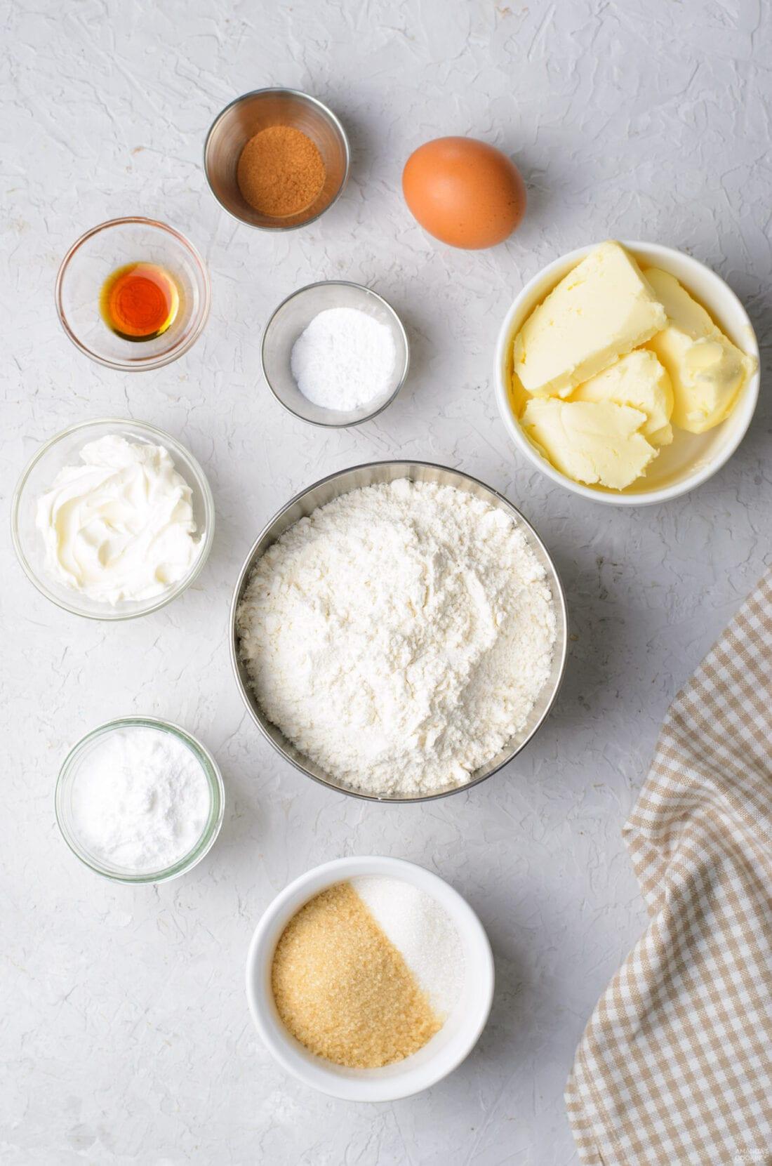 ingredients for cinnamon roll cookies
