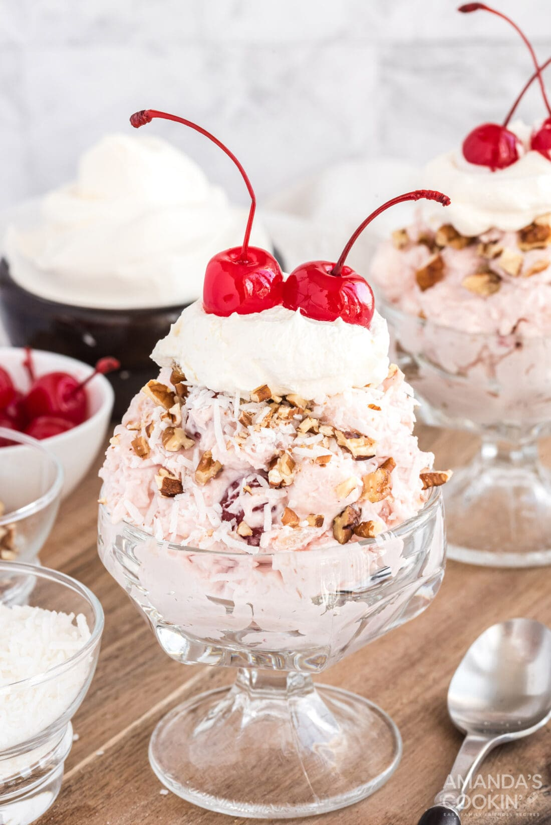 cherry fluff with nuts and whipped cream