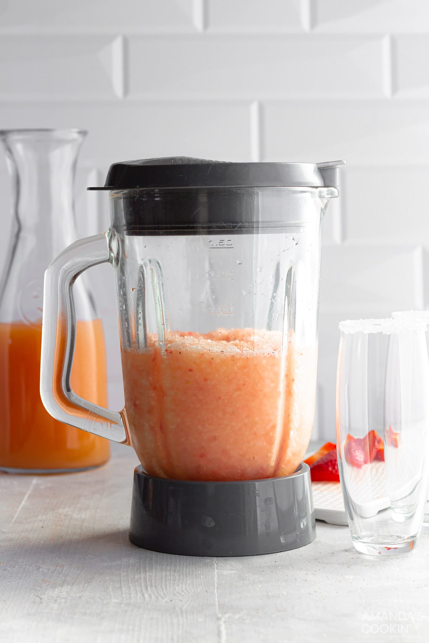 frozen strawberry salty dogs in a blender