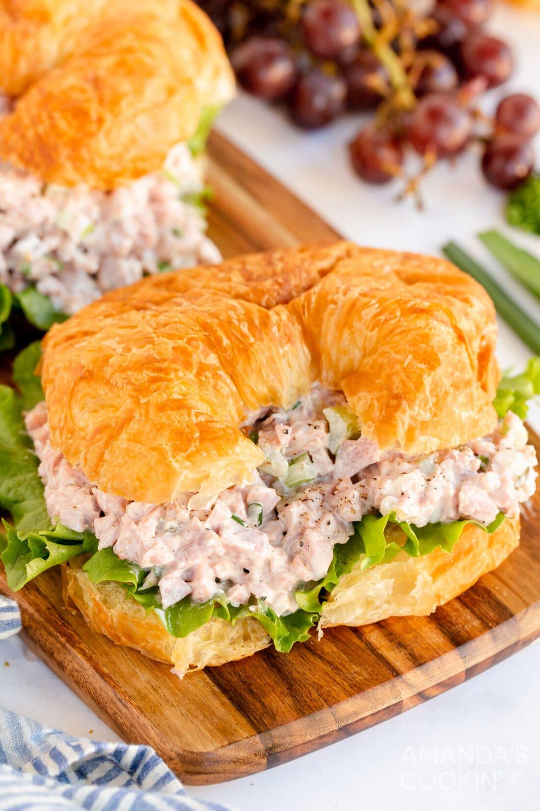 ham salad on a croissant