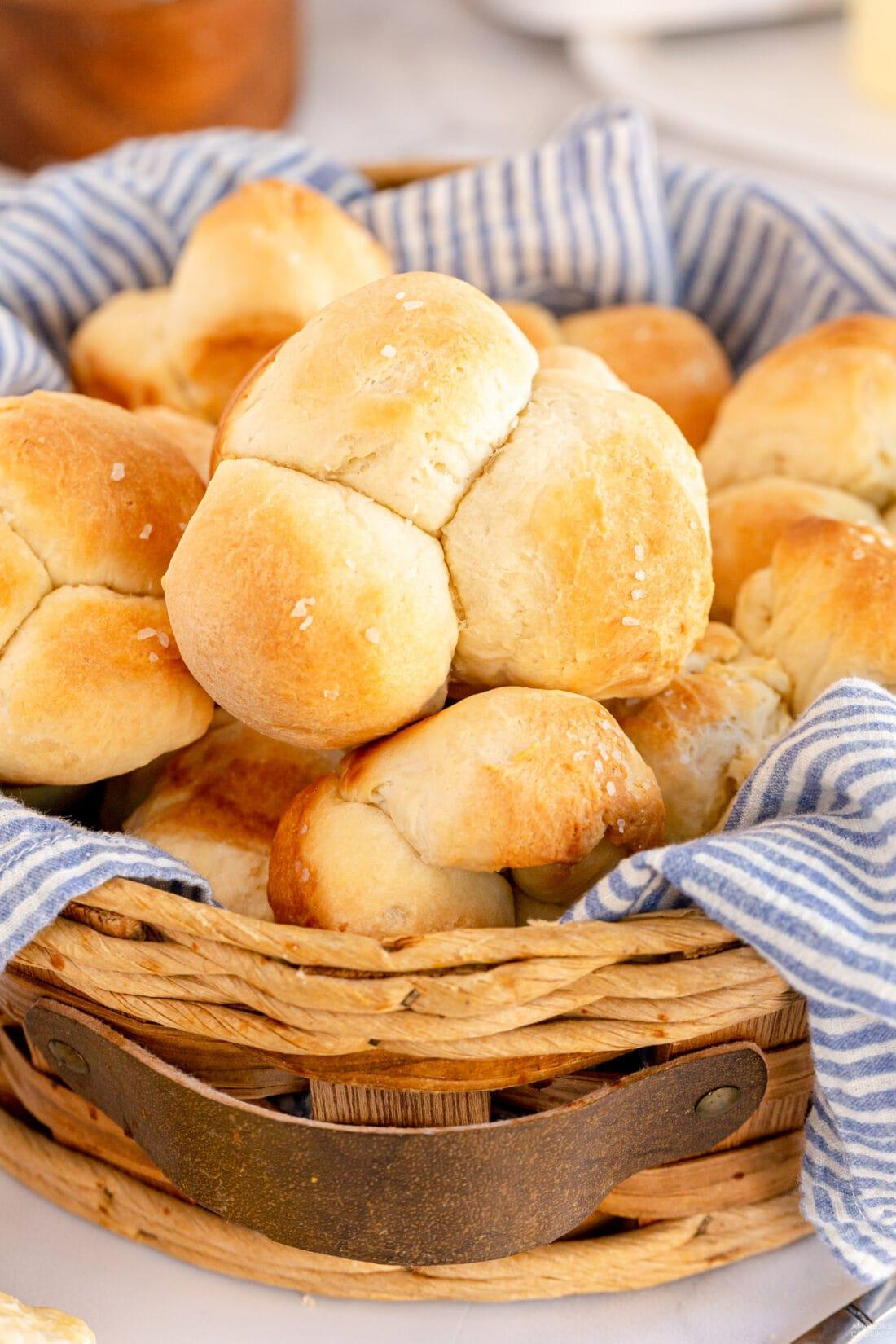 basket of Homemade Pull Apart Dinner Rolls