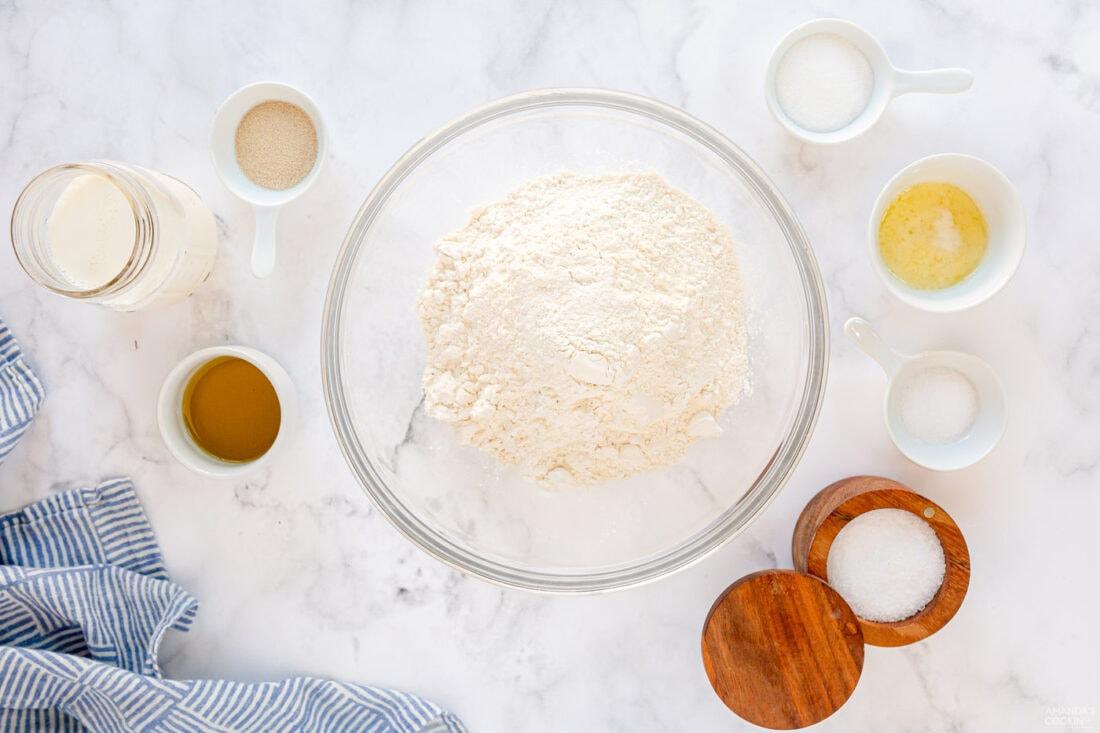 ingredients for Homemade Pull Apart Dinner Rolls
