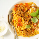 Instant Pot Spaghetti and Meat Sauce in a dish