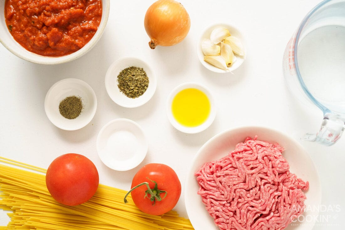 ingredients for Instant Pot Spaghetti and Meat Sauce