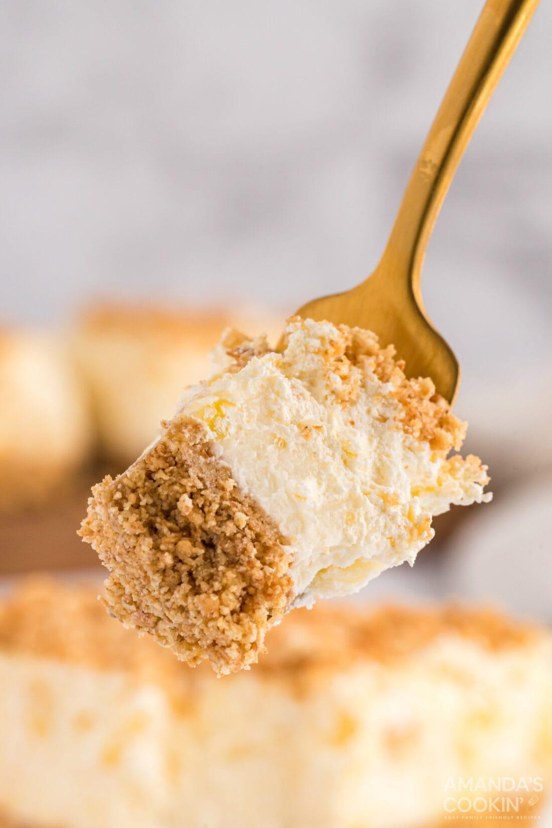 fork full of pineapple dream dessert