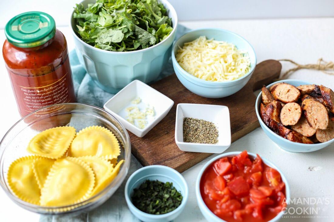 ingredients for Ravioli Lasagna