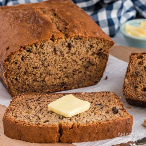 sliced sour cream banana bread with butter