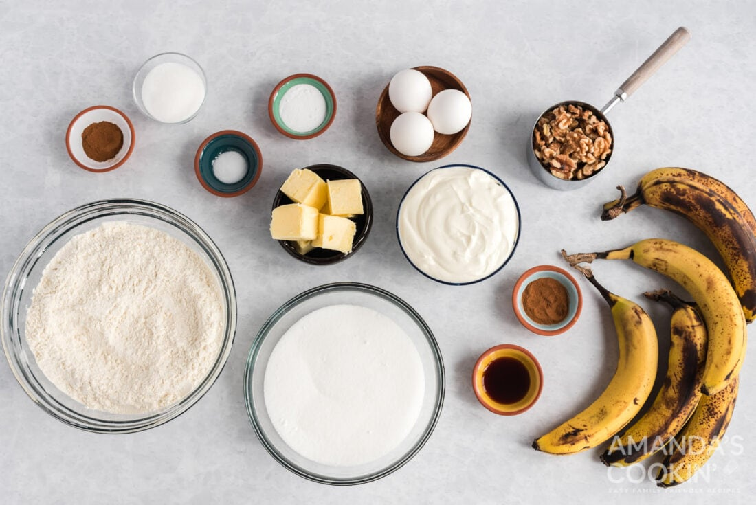 ingredients for sour cream banana bread