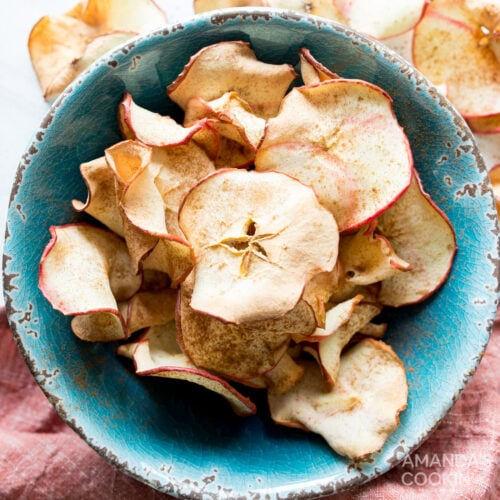 air fryer apple chips in a bowl