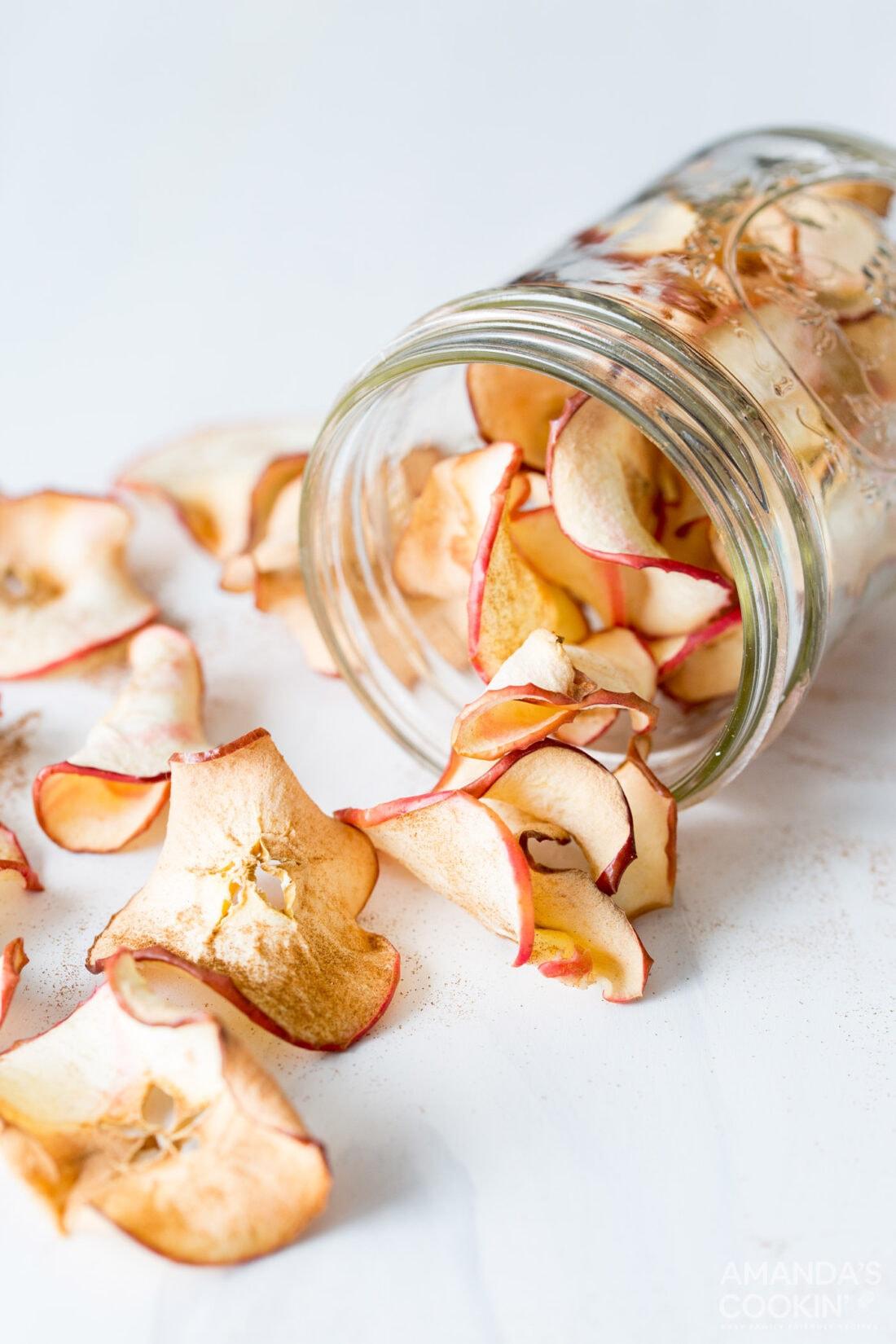 jar of air fryer apple chips
