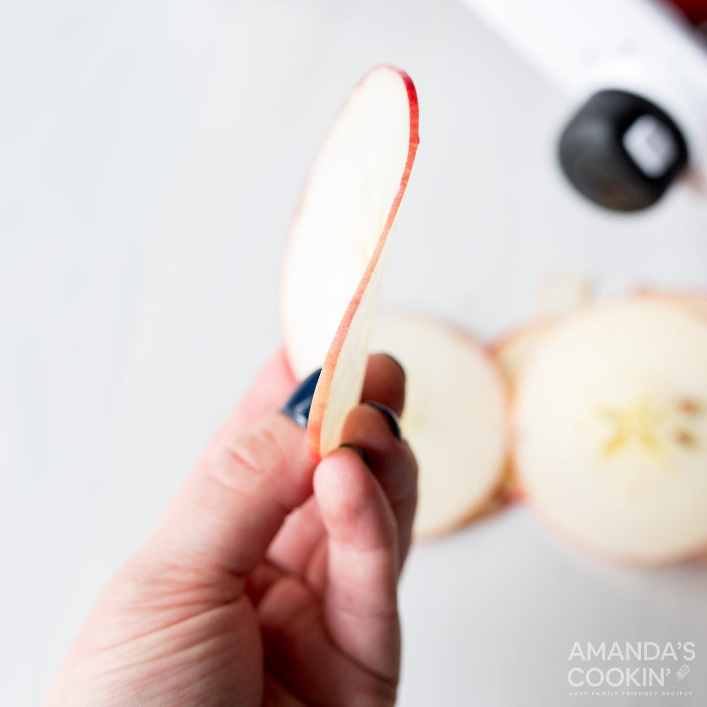 thin sliced apple