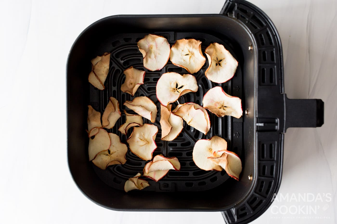 dehydrated apple chips in an air fryer