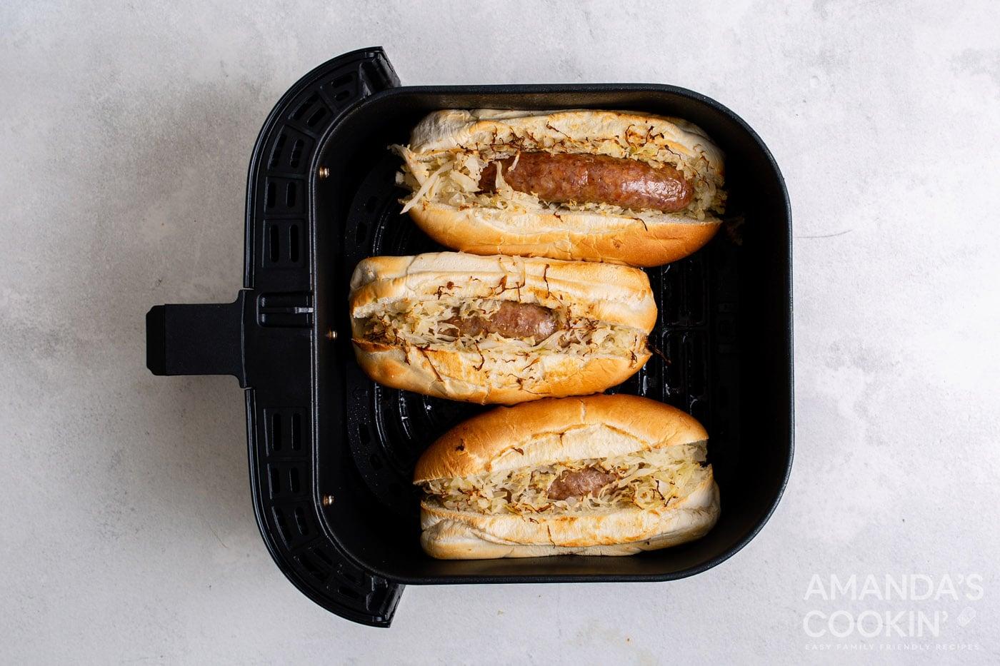 Cooked bratwurst in a bun