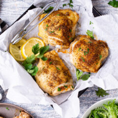 air fryer chicken thighs in a square pan