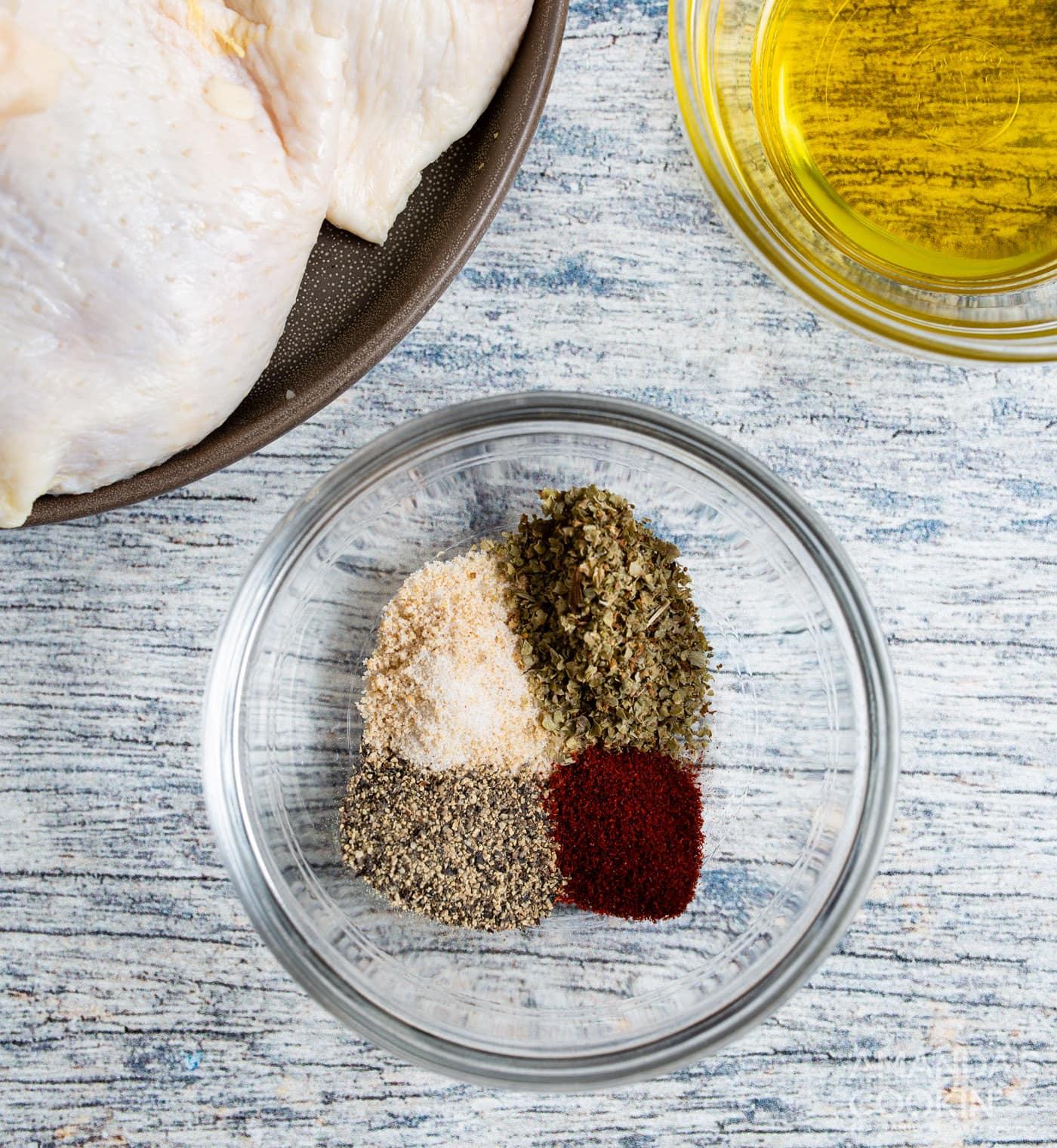 seasonings in a small bowl