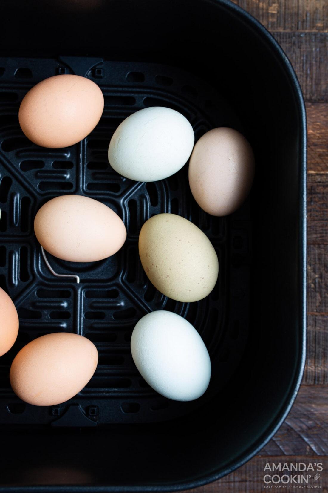 eggs in an air fryer basket