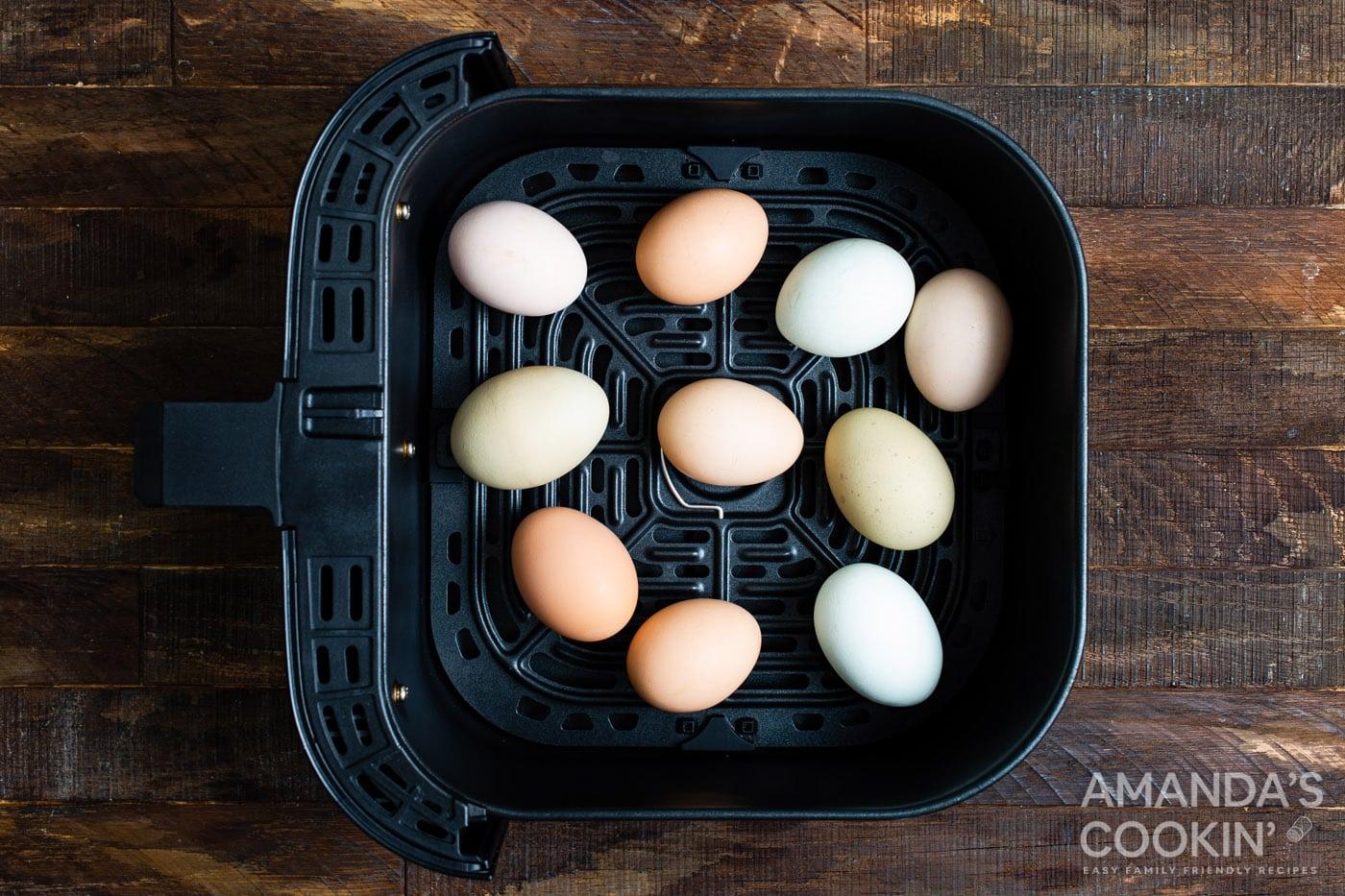 Eggs on air fryer basket
