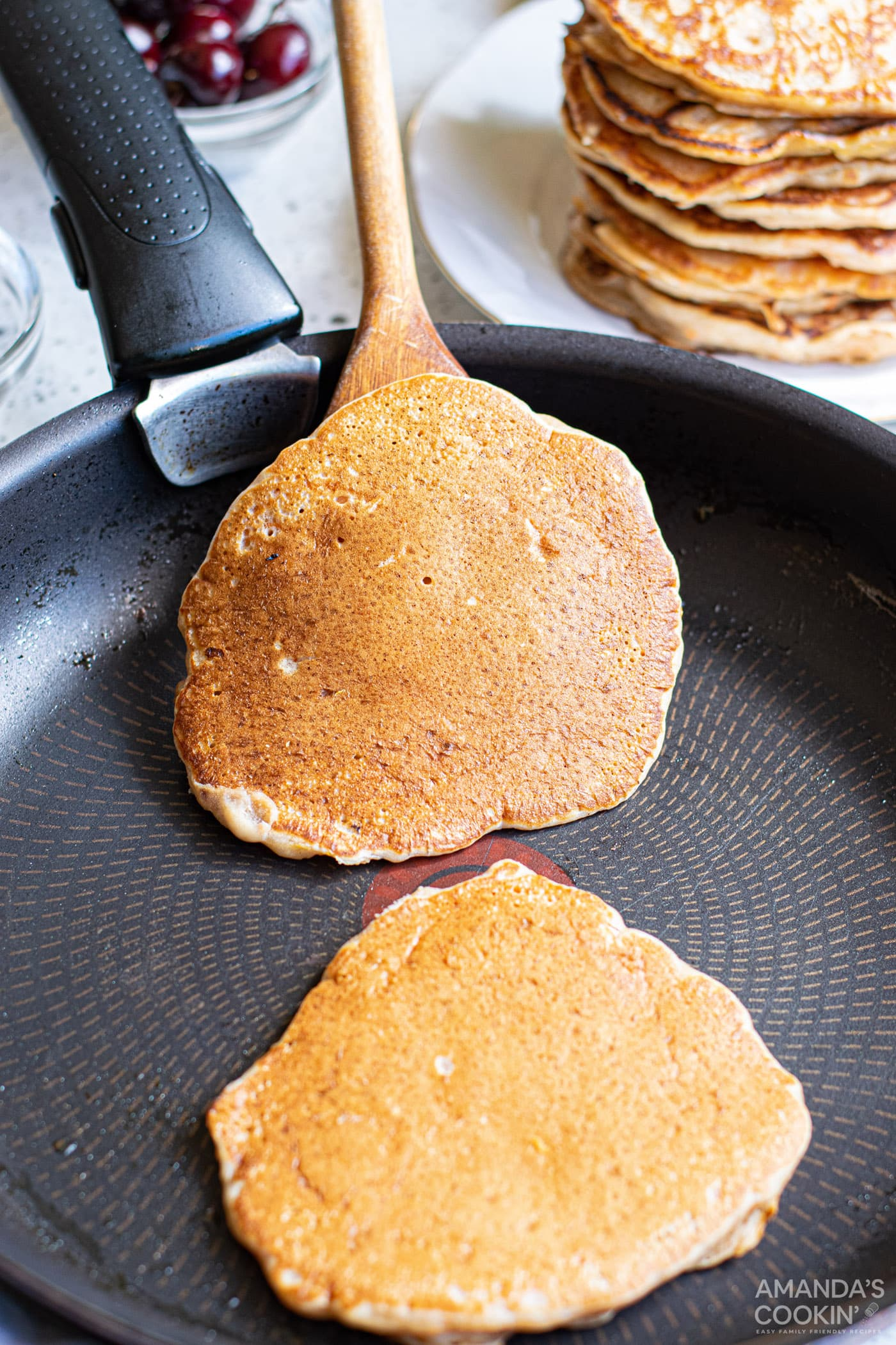 pancakes on a skillet