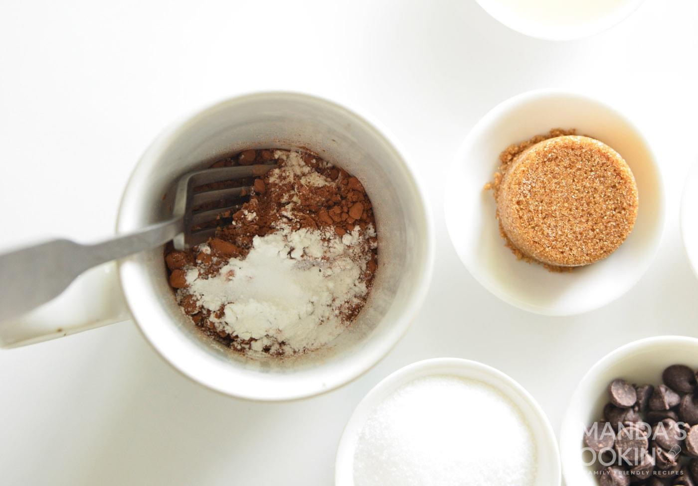 dry ingredients in mug