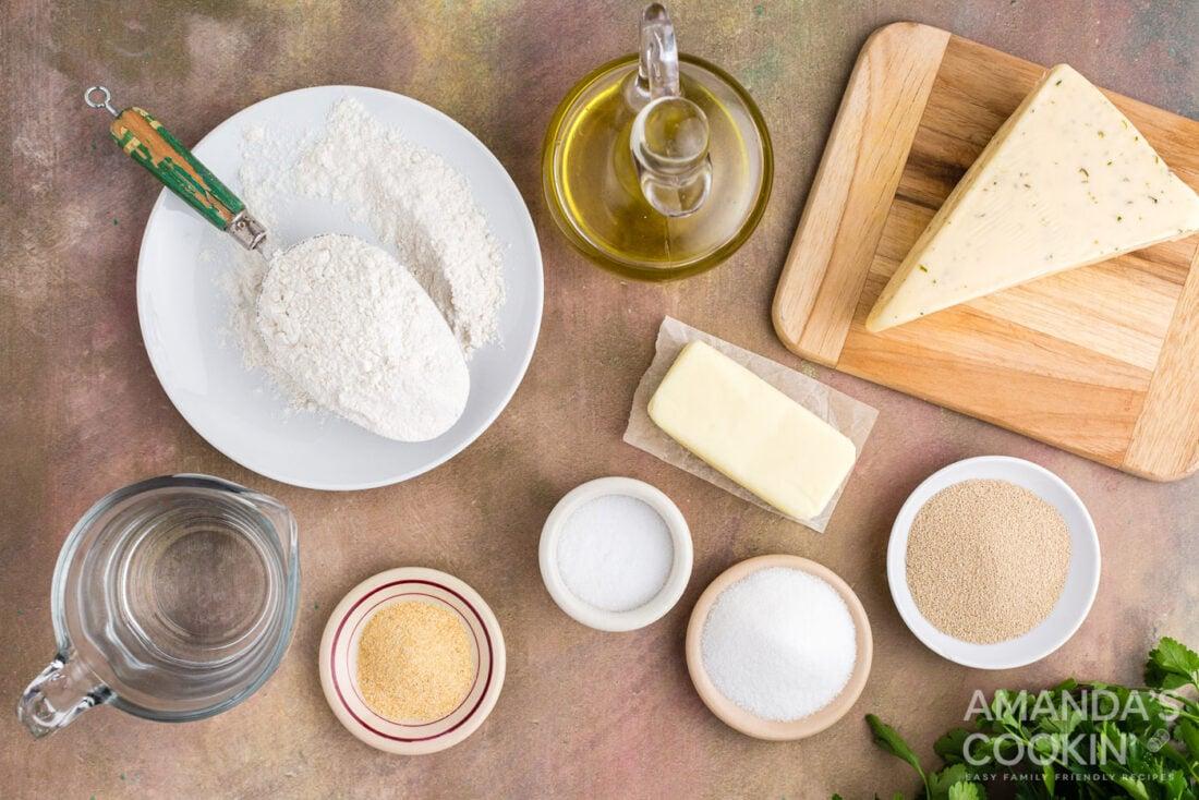 ingredients for garlic cheese rolls