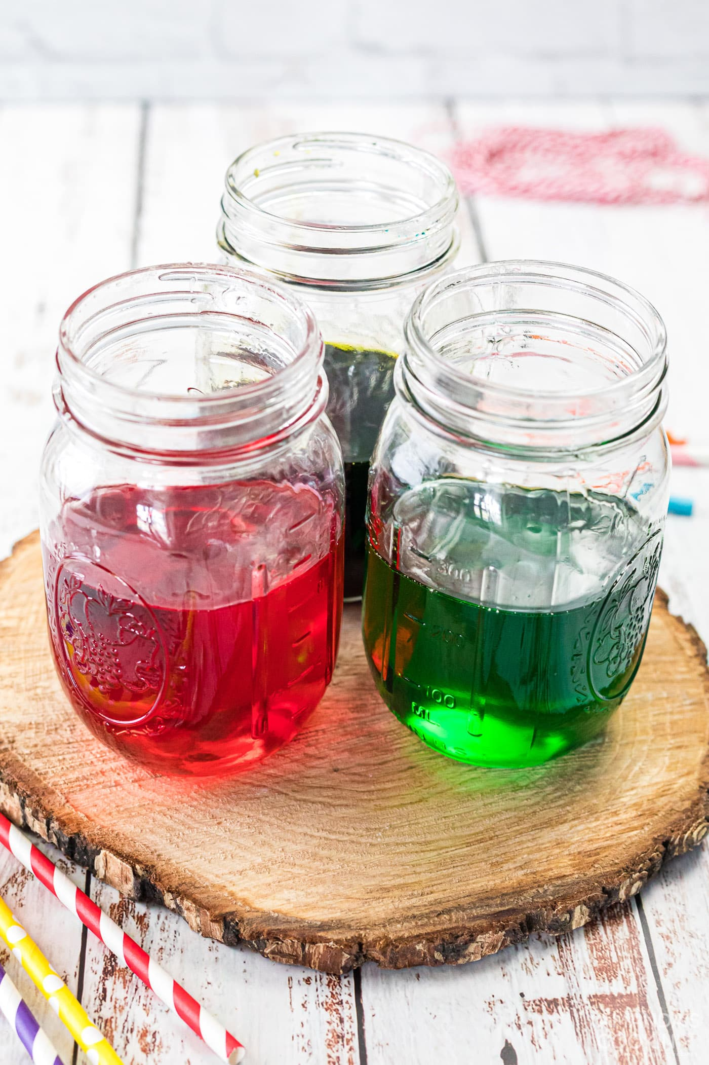 jars with colored sugar mixture