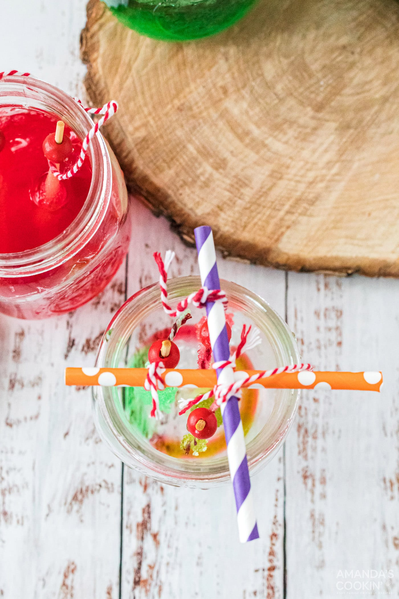 overhead view of hanging rock candy in a jar