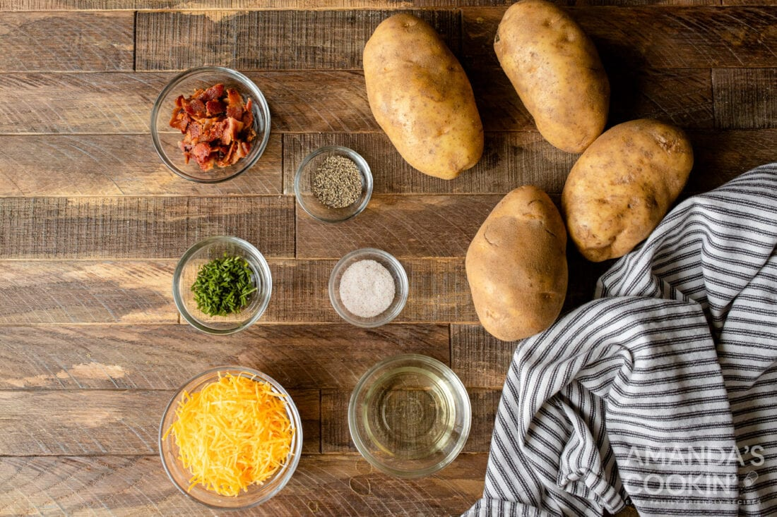 ingredients for making Air Fryer Twice Baked Potatoes
