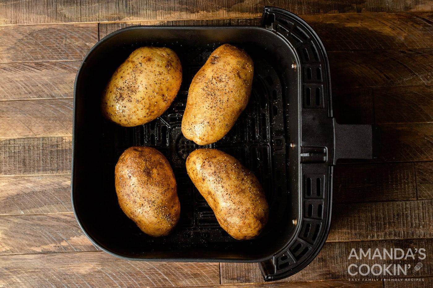 russet potatoes in air fryer basket