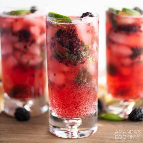 3 glasses of Blackberry Mojito