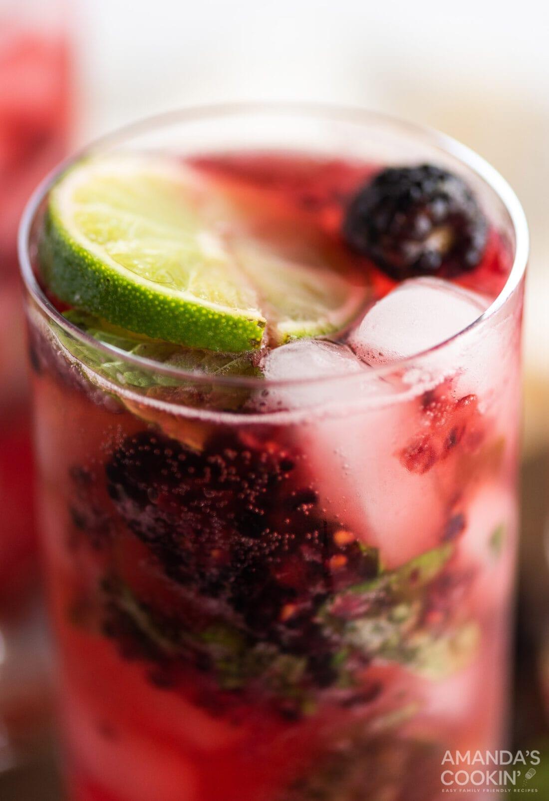 close up of Blackberry Mojito