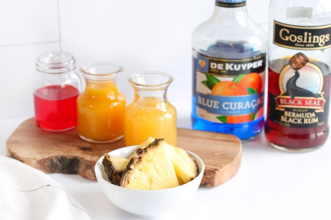 ingredients needed to make a Blue Hawaiian Mai Tai