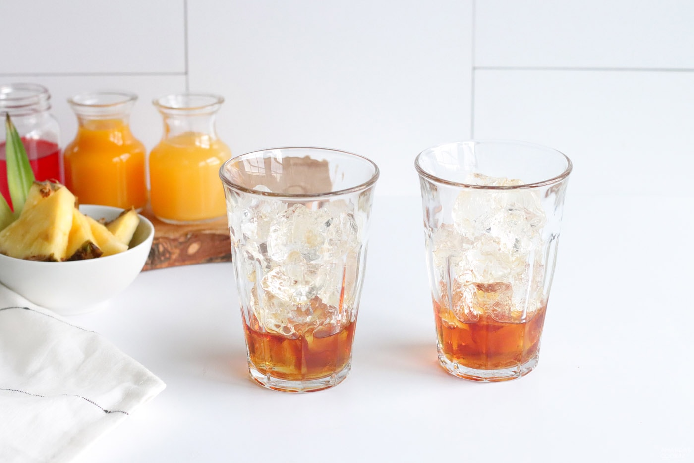 dark rum in a glass of ice