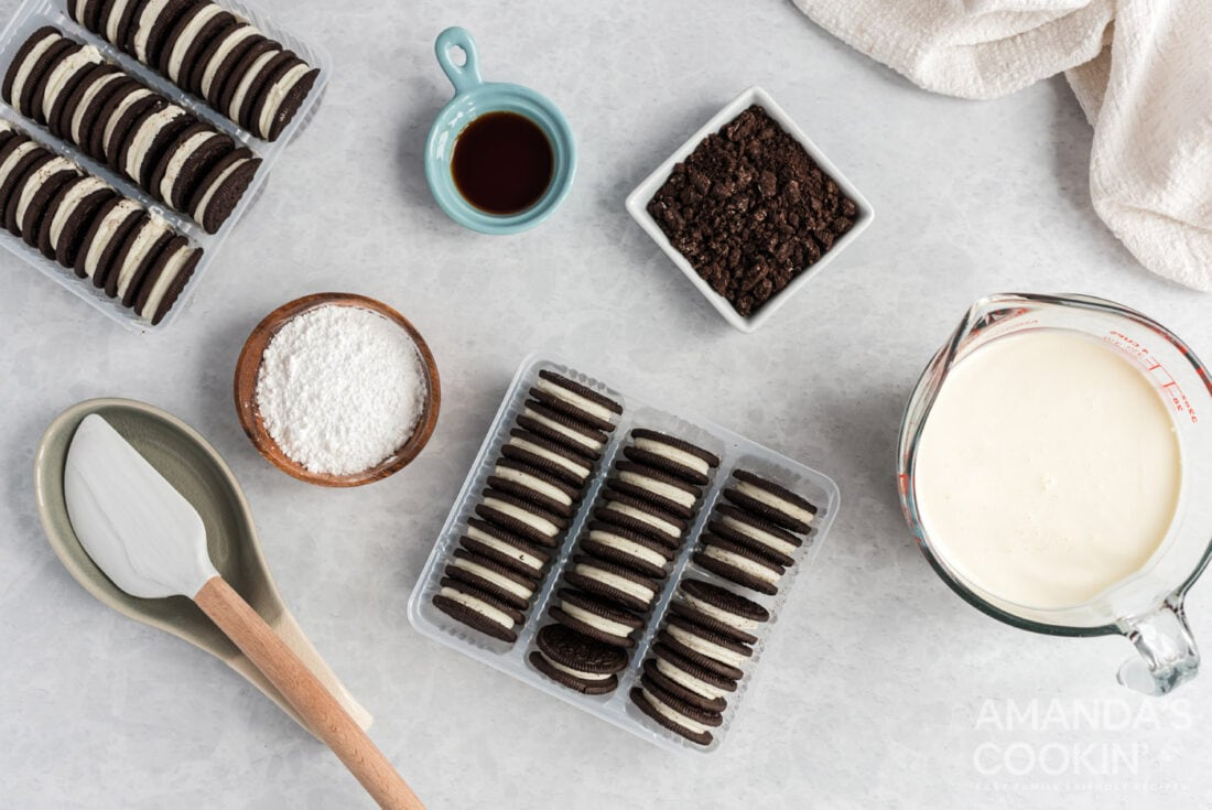ingredients for Oreo Icebox Cake