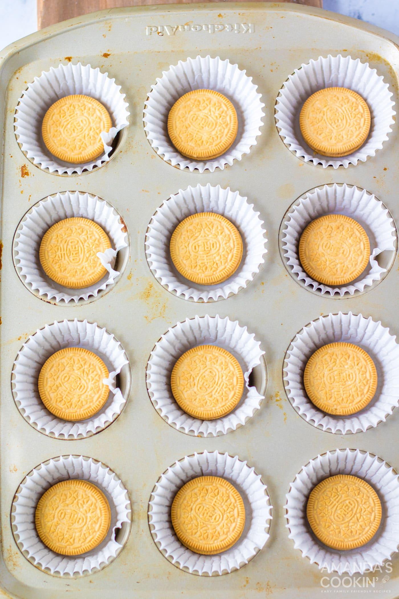golden Oreos in a mini muffin tin