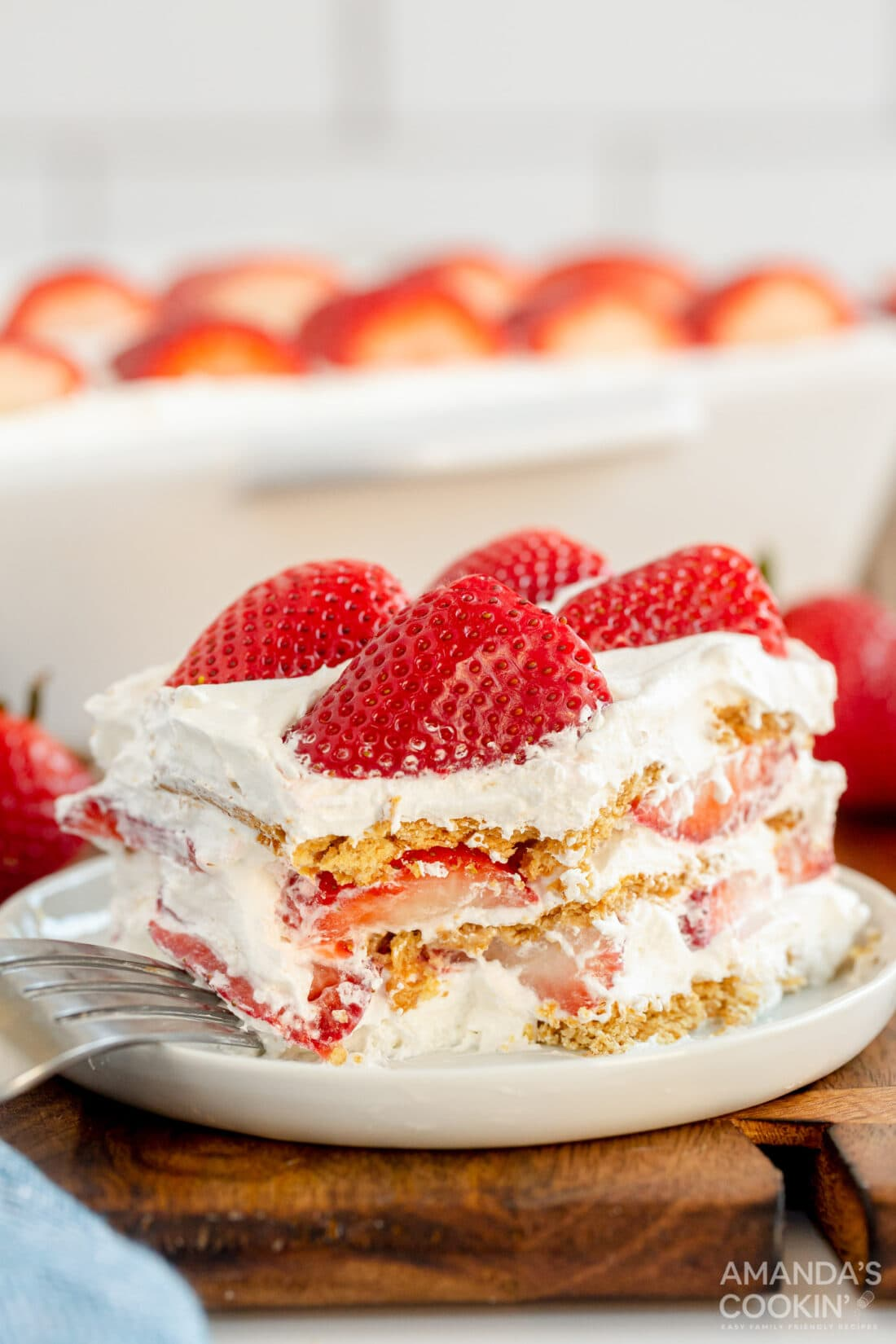 slice of strawberry icebox cake