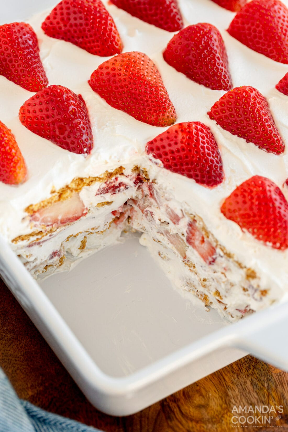strawberry icebox cake with slice removed