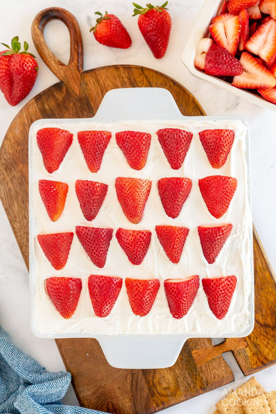 pan of strawberry icebox cake