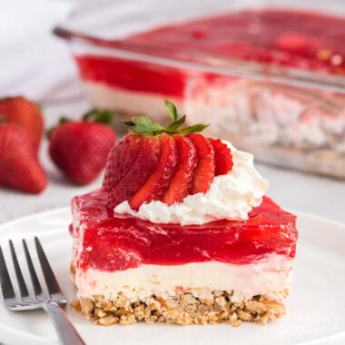 slice of strawberry jello dessert