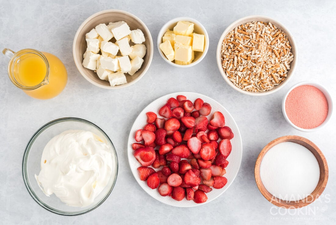 ingredients for Strawberry Pretzel Salad